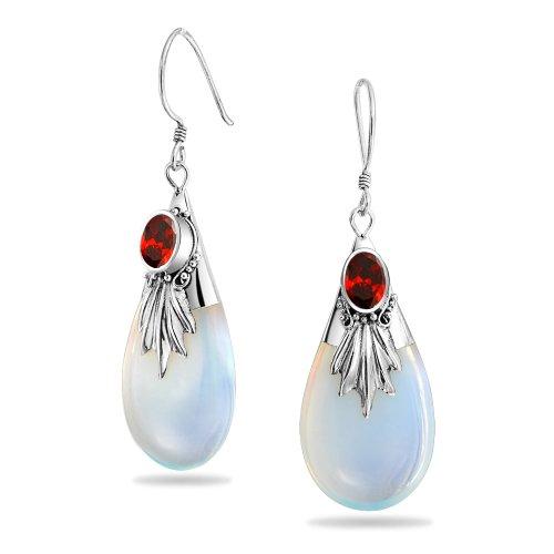 Bali Stil Regenbogen Opalit Glas Teardrop Birnenförmig Baumeln Rot Zirkonia Cz Ohrringe Fisch Haken Sterling Silber