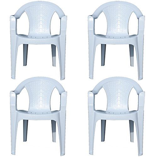 Indoor & Outdoor White Plastic Lawn Chairs Garden Patio Armchair Stacking Stackable (4)