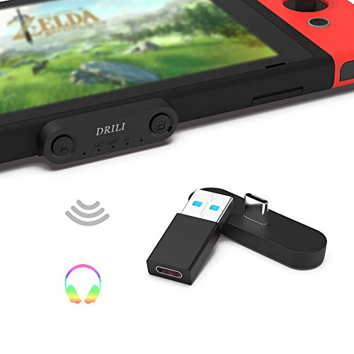 DRILI Bluetooth Adapter Wireless Audio Transmitter for Nintendo Switch & Lite ,PS4 PC,for Bluetooth Headsets AirPods Pro, Bose, Sony, Jabra and More