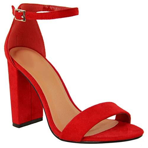 Fashion Thirsty Damen Block Absatz Sexy Offene Zehen Sandalen Schuhe - Rot Kunstwildleder, 36