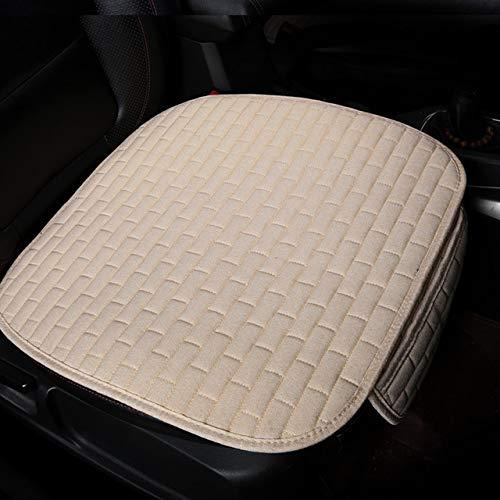 QWERD Funda de asiento de coche, tela de lino, para cuatro estaciones, cojín de lino transpirable, protector de colchoneta para coche, tamaño universal (nombre del color: beige para un solo asiento)