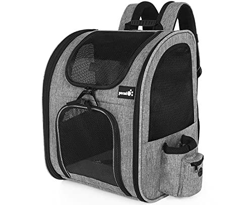 pecute Haustier Rucksack mit Netzfenster, Tragbare und Faltbare Katzentasche, Atmungsaktive und Leichte Hundetasche, Wasserdichtes Oxford-Tuch mit Viel Platz, Multifunktionales Rutschfestes Grau 6kg