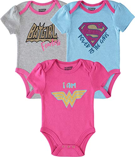 DC Comics Newborn Girls Justice League 3Pk Bodysuits Blue/Pink/Grey 6-9 Months