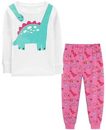Little Hand - Pijama largo para niña, dos piezas, algodón, diseño de unicornio, gato Rosa-dinosaurio 98 cm