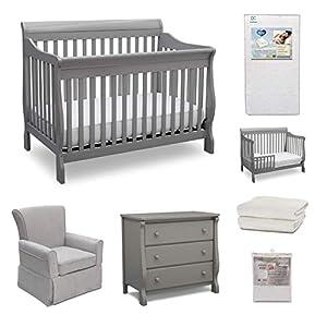 Delta Children Canton 7-Piece Baby Nursery Furniture Set – Includes: Convertible Crib, Dresser, Glider, Crib Mattress, Fitted Crib Sheets, Mattress Pad Cover and Toddler Guardrail, Grey/Sand