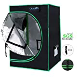 Quictent SGS Approved Eco-Friendly Reflective Mylar Hydroponic Grow Tent with Heavy Duty Anti-Burst Zipper and Waterproof Floor Tray for Indoor Plant Growing (24'x24'x36')