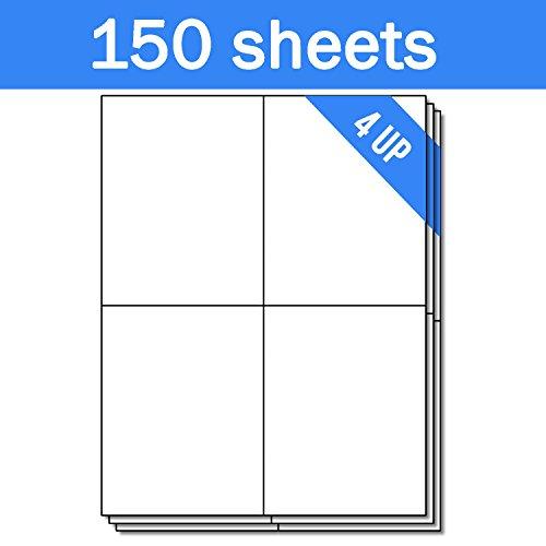 OfficeSmartLabels Rectangular 4-1/4 x 5-1/2 Shipping/Wine Bottle Labels for Laser & Inkjet Printers, 4.25 x 5.5 Inch, 4 per Sheet, White, 600 Labels, 150 Sheets Photo #2