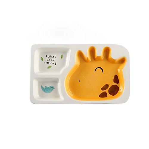 zhpjjlyhtq Le repas des enfants cartoon compartiment plaque plaque de séparation bébé vaisselle pour enfants cute céramique assiette petit-déjeuner accueil séparés rice plate,Girafe - plat unique