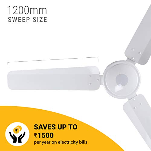 Gorilla Energy Saving 5 Star Rated 1200 Mm Ceiling Fan With Remote Control And Bldc Motor - White