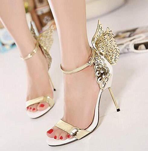 YURU Sommer High Heel Schmetterling Flügel High Heels Brautkleid Schuhe Party Schuhe Heels Schuhe,Silver-EU36
