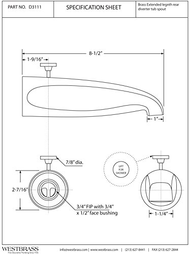 Westbrass D3111-07 Brass Rear Diverter Tub Spout, Satin Nickel