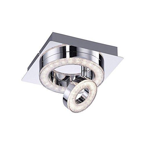 LeuchtenDirekt, LED-Deckenleuchte, IP 20, 17x1, Deckenlampe, warmweiss,1-flammig, 3000 Kelvin, Chrom (1 Flammig)