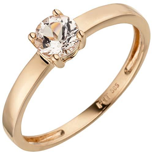 JOBO Damen-Ring aus 585 Rosegold mit Morganit Größe 50