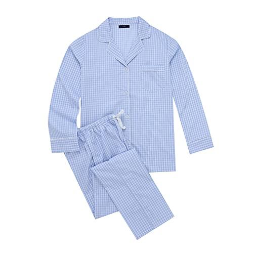 Noble Mount Twin Boat 100% Cotton Pajama Set for Women - Checks Blue White - XLarge