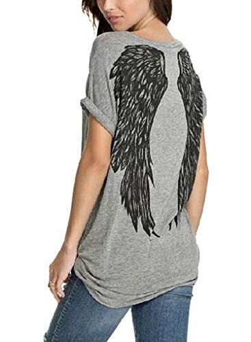 Camiseta de manga corta para mujer, cuello redondo, diseño de alas de ángel, estampado de plumas Gris gris L