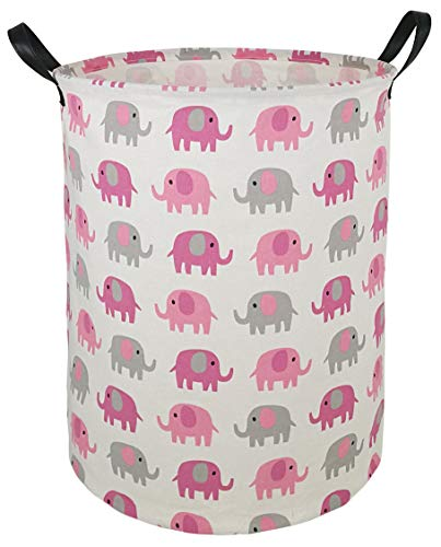 HUAYEE 19.7 Inches Large Laundry Basket Waterproof Round Cotton Linen Collapsible Storage bin with Handles for Hamper Kids Room,Toy Storage(Elephant)