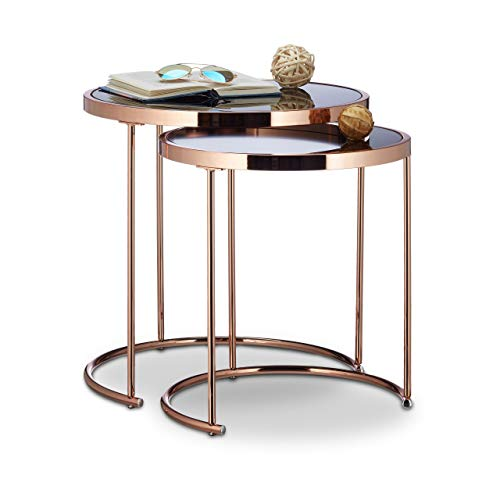 Relaxdays Nesting Tables Round, Chrome Frame, Set of 2, Modern Design - Frosted Glass, Side Table End Tables, Metal, Copper