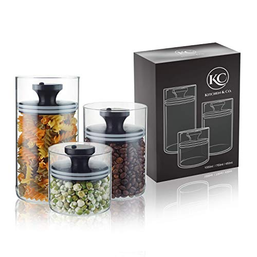 Kitchen&Co. Tarros de cristal con tapa al vacío, almacenamiento hermético, con tapa,...