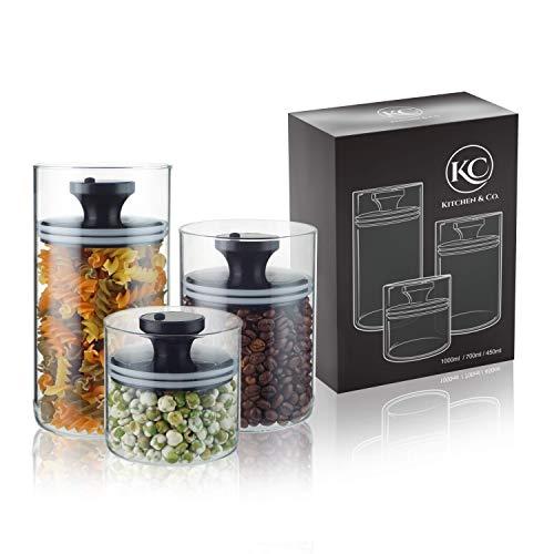 Kitchen&CO. Vorratsgläser mit Vakuumdeckel, Luftdichte Aufbewahrung, Vorratsdose mit Deckel, mottensichere Gläser - BPA-frei, Borosilikatglas Behälter, 450 ml, 700 ml, 1000 ml (3 er Set)