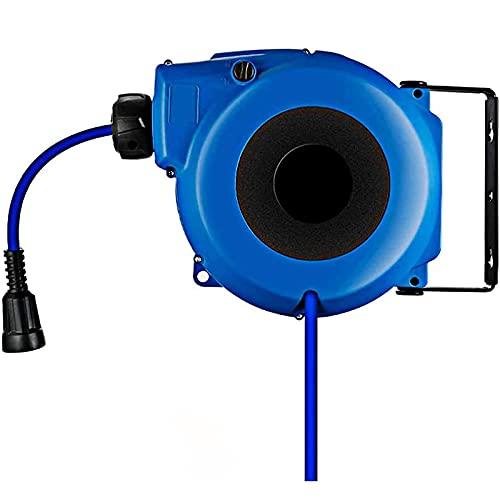 QCSMegy Carrete de Manguera de Aire Carrete de Manguera de Aire Completamente Cerrado y retráctil con un diámetro de tubería de 812 mm con Conector rápido y Soporte Giratorio de 180 °