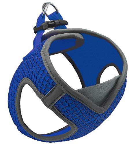 Kruz PET KZA308-02S Reflective V-Neck Step In Mesh Dog Harness - No Pull, Easy Walk, Quick Fit, Comfortable, Velcro-Adjustable Pet Harnesses for Walking & Training - Small, Medium Dogs - Blue, Small