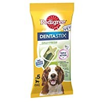 DentaStix Fresh dental chews for dogs are scientifically proven to reduce tartar build up by up to 80% when fed daily Dentastix Fresh dental chew sticks have a unique blend of green tea extract and eucalyptus oil, which are proven to help freshen bre...