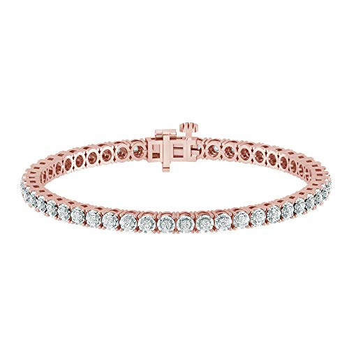 La4ve Diamonds 1.00 Carat Real Diamond Circle Link Tennis Bracelet (J, I3) Rose Gold Rhodium Plated Over Sterling Silver Illusion Set Miracle Plate Wedding Fashion Jewelry for Women Girls