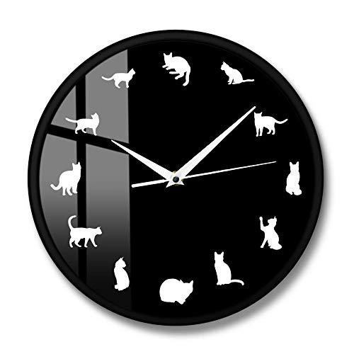 12 Reloj de Pared Moderno con Pose de Gato Diferente Reloj de Pared con Gatito Reloj de Pared Tienda de Mascotas Arte de Pared Gatito Animal Decoración de Cuarto de niños-Metal_Frame