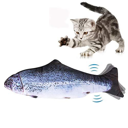 Afaneep Juguete Hierba Gatera, Juguete Gato Pez Interactivo Peluches Pescado Juguete Pez Electrico Automático para Gatos Gatito