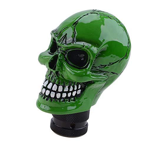 Perilla de cambio de marchas esqueleto cabeza de cráneo universal 5 6 velocidades palanca de cambios adaptador de ajuste interior del coche pieza modificada personalizada accesorio auto verde
