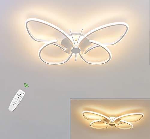 LED Kinder Lampe Deckenleuchte Schmetterling Design Deckenlampe Wohnzimmer Baby Decken Licht Dimmbar Fernbedienung Aluminium Acryl-schirm Für Schlafzimmer Kinderzimmer Kindergarten Büro, Weiß, 28W