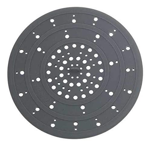 WENKO Abfluss-Sieb Silikon Grau - Spülbeckensieb, Silikon, 12 x 0.3 x 12 cm, Grau