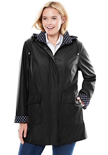 Woman Within Women's Plus Size Raincoat In New Short Length With Fun Dot Trim - 26 W, Black