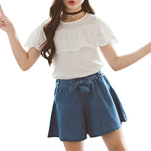 Freebily Conjuntos de Verano Niñas Top Camiseta de Manga Corta Volantes Falda de Vaquero Infantiles Top...