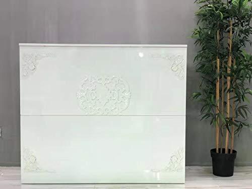 Mesa de Oficina Mostradores para Tiendas o Recepción Mueble Blanco con Brillo con Un Estampado en Relieve Floral
