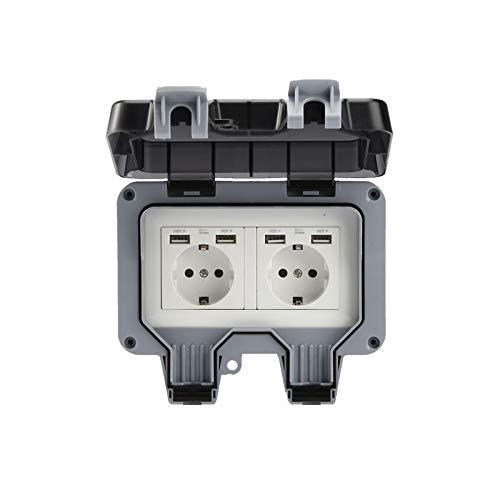 Presa da Muro Esterno Doppia con USB Impermeabile Resistente Presa Elettrica con Scatola da Parete (Doppio)