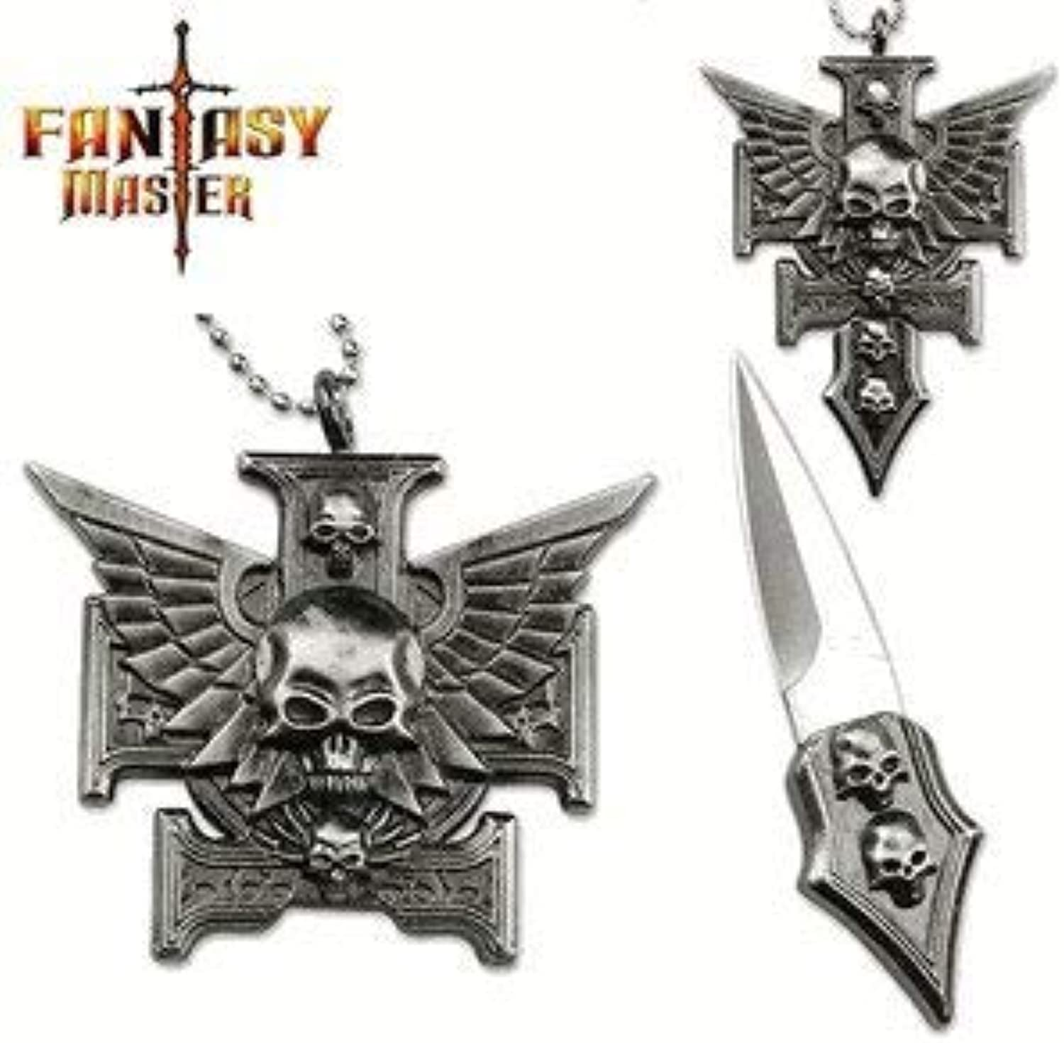 Gothic Skull Cross Chopper & Wings Necklace Knife