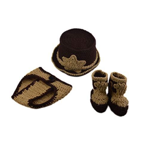 PRETYZOOM 3 stks Baby Photo Outfit pasgeboren kostuum fotografie wollen hoed ondergoed Broeken en sokken voor baby pasgeboren peuter fotografie Props