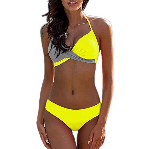 SHEJIAN Sexy Push Up Bikinis Swimming Suit Woman Summer Beach Wear Bathing Yellow-Gray L