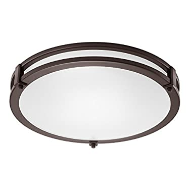 GetInLight LED Flush Mount Ceiling Light, 18-Inch, 30W(150W equivalent), Bronze Finish, 4000K(Bright White), Dimmable, Round, Dry Location Rated, ETL Listed, IN-0307-4-BZ-40