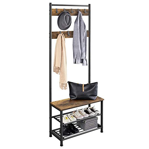 Yaheetech Metal Hall Tree with Shoe Storage Bench Entryway Coat Rack with 2 Shoe Shelves & 9 Movable Hooks, Rustic Brown