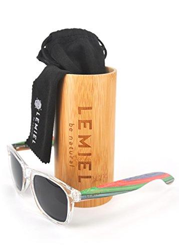 LEMIEL - DIE ÖKO-HOLZBRILLE - Hochwertige Holzsonnenbrillen aus Echtholz - Polarisiert - Damen & Herren - Bambus-Etui - UV 400-1 Artikel = 1 Baum. (Rainboo)
