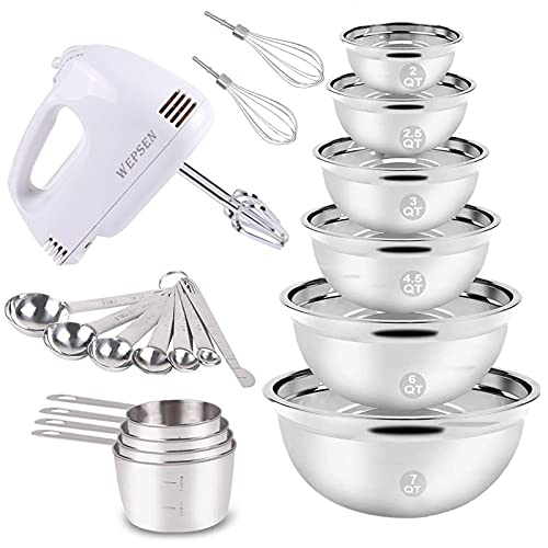 Electric Hand Mixer Mixing Bowls Set, Upgrade 5-Speeds Mixers with 6 Nesting Stainless Steel Mixing Bowl, Measuring Cups and Spoons Whisk Blender -Kitchen Baking Supplies For Cooking Bake Beginner (Renewed)