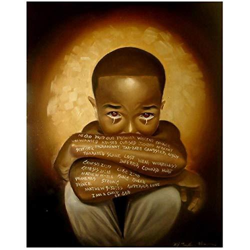 xiongda Silent In The Dark Tränen Dunkelhäutige Kinder drucken farbige Wandbilder für Wohnzimmerspiegel / 50X70cm-No Frame