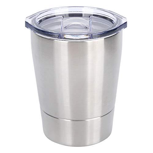WEILafudong Taza de café de acero inoxidable de 8 onzas, taza de agua portátil con tapa taza de viaje para el hogar viajes camping (plata)