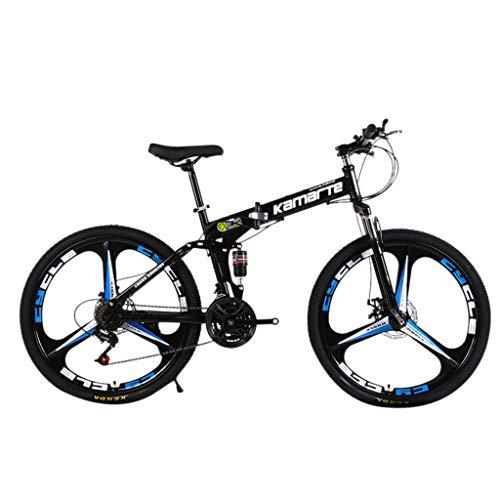 SAQIMA 26in Folding Mountain Bike, Full Suspension Road Bikes with Disc Brakes, Shimanos 21 Speed Bicycle Full Suspension MTB Bikes for Men/Women (Black)