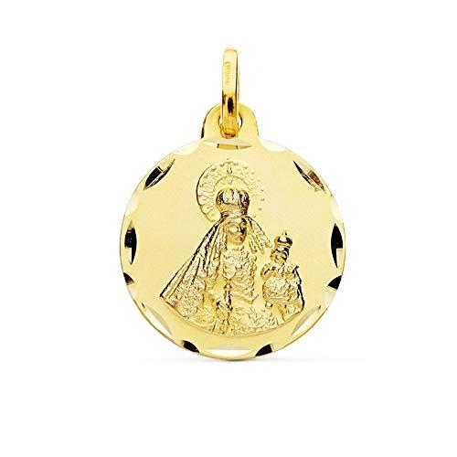 Medalla Oro 9K Virgen Del Rosario 18mm. Redonda Lisa Borde Tallado - Personalizable - Grabación Incluida En El Precio