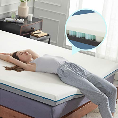 Bedsure 4 Inch Queen Memory Foam Spring Mattress Topper Ventilated Design Soft Support Noiseless Bed Topper with Hypoallergenic Removable Bamboo Cover