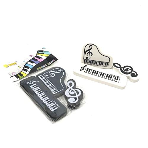 3 stücke Musik Klavier Radiergummi Kreative Büro Schule Schreibwaren 3D Flügel Form Hohe Note Mitarbeiter Muster Radiergummi Kinder Geschenke 1 satz