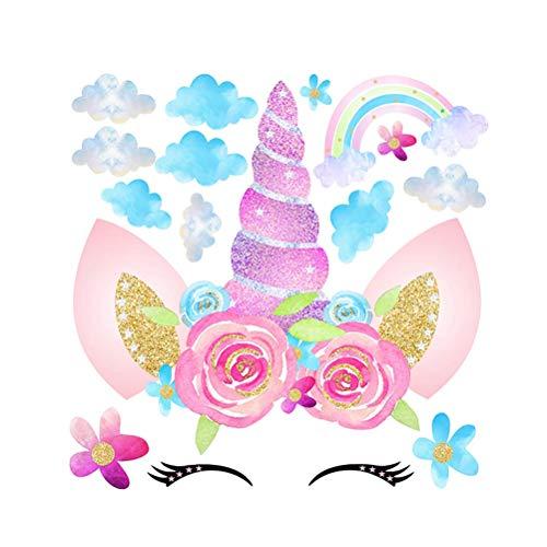 LIOOBO Unicornio Etiqueta de la Pared Floral Cabeza de Unicornio Tatuajes de Pared Cuarto de la guardería extraíble Vinilo Arte de la Pared decoración